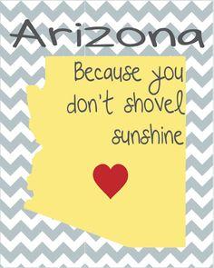 Arizona. Because you don't shovel sunshine. free printable.
