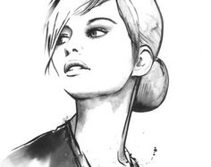 Print from Original Watercolor Fashion Illustration Modern Art Black and White Portrait Painting titled Daintiness