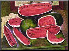 Diego Rivera's watermelons-A great project for elementary kids!  Kim & Karen: 2 Soul Sisters (Art Education Blog): S W E E T!        W    A  T    E    R     M   E   ...