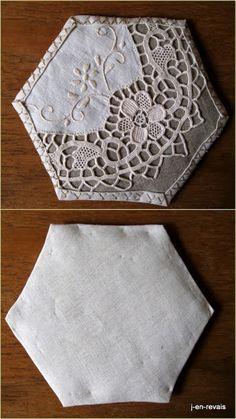 blanc beequilt et vieilles dentelles - napperon ovale