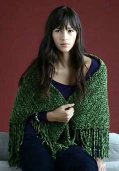 Have it Your Way Shawl, free pattern from Lion Brand in super-bulky chenille yarn.  Simple triangle worked top-down with hook size N using HDC.  This would be a fast project & as warm as a blanket  ;-)  . . .  ღTrish W ~ http://www.pinterest.com/trishw/  . . .   #crochet #wrap