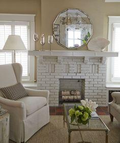 pretty vintage 1920 mirror with white bricks