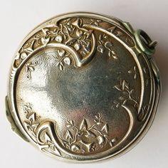 Antique Sterling Silver French Art Nouveau Pill Box - Circa 1900