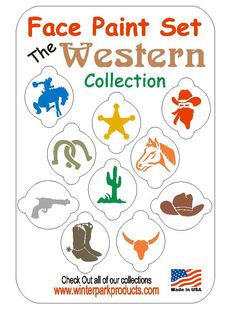 10 Piece Western Face Painting Stencil Set