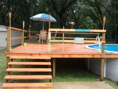 decks for above ground pools | wood deck for an above ground pool