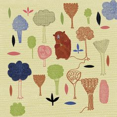Do bear knit in the wood. Illustration © Anne Wilson. Click above to see larger image.