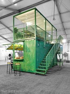 Cafe Shop Design, Cafe Interior Design, Retail Interior, Store Design, Design Café, Kiosk Design, Container Design, Shipping Container Cafe, Shipping Containers