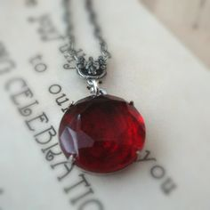 Gothic Red Necklace Jewel Necklace Victorian Gothic Gift for Women