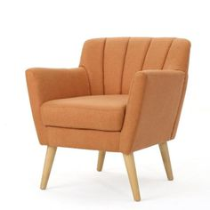 Noble House Merel Mid-Century Modern Orange Fabric Club Chair 12364 - The Home Depot Mid Century Modern Fabric, Mid Century Modern Living Room, Upholstery Cushions, Upholstered Arm Chair, Pillows, Living Room Chairs, Living Room Furniture, Living Rooms, Mid Century Chair