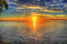 Sunrise, Lake, Water, Scenic, Landscape, Wisconsin
