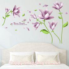 114 * 74 cm Veľká veľkosť fialový kvet Výmenné PVC Wall Stickers ...
