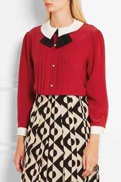 Gucci | Pleated silk crepe de chine blouse | NET-A-PORTER.COM