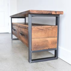 Industrial TV Stand made from Reclaimed Wood / Modern Media Cabinet / TV Stand Check more at . - Industrial TV Stand made from Reclaimed Wood / Modern Media Cabinet / TV Stand Store your media dev - Industrial Tv Stand, Vintage Industrial Furniture, Industrial Lamps, Industrial Wallpaper, Industrial Stairs, Industrial Bedroom, Industrial Living, Industrial Office, Industrial Farmhouse