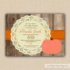 Little Pumpkin Baby Shower Invitations  DIY by PoofyPrints on Etsy, $24.00