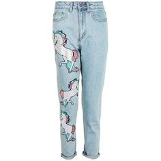Sequin Unicorn Mom Jeans by Kuccia (345 PLN) ❤ liked on Polyvore featuring jeans, pants, bottoms, unicorn jeans, blue jeans, topshop jeans, sequined jeans, patch jeans and patching blue jeans