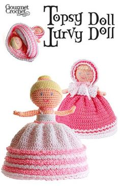 Doll play time just became more fun with the Topsy Turvy Doll. This absolutely adorable crocheted doll has a skirt that flips over to reveal a second doll on the underneath side. Any doll-loving girl will be thrilled to receive this fun two-in-one crochet toy. Depending on how the skirt is flipped, the doll looks completely different. On one side, she is all dressed up in a pretty bonnet and pink dress. Flip the skirt over the bonnet doll and you will find a beautiful ballerina with a pret