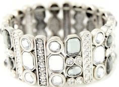 https://www.cityblis.com/5715/item/13714 | All That Glitters - $48 by sistaco |  Silver Diamante Bracelet | #Bracelets