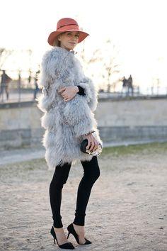 fur x black skinnies
