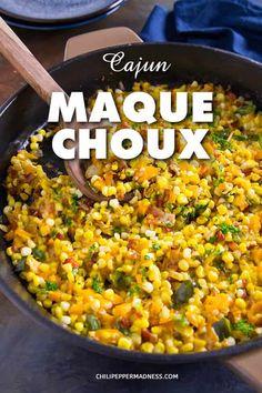 Cajun Corn Maque Choux - Maque Choux is a classic Cajun recipe of corn and peppe. - Cajun Corn Maque Choux – Maque Choux is a classic Cajun recipe of corn and peppers sautéed in ba - Corn Recipes, Spicy Recipes, Side Dish Recipes, Cooking Recipes, Cajun And Creole Recipes, Haitian Recipes, Donut Recipes, Mexican Recipes, Recipies