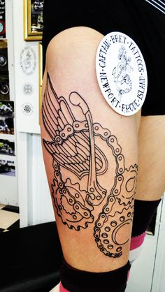 #MotorcyleTattoo #Sprocket #Chain #gears #TattoosByCaptainBret #NewportRhodeIsland #RI #TattooShop #TattooStudio #CityByTheSea #BesttattooStudio