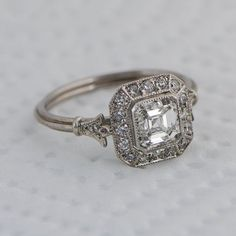 so pretty - Vintage Asscher Cut Diamond Engagement Ring - Diamond Halo - 1.01 carat - GIA - VS1 clarity - G color - Estate Diamond Jewelry