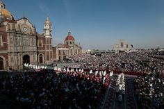 Bishops process from the historic Basilica of Our Lady of Guadalupe to the modern basilica for a Mass celebrated by Pope Francis in Mexico City
