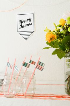 Fun and easy DIY watercolor straw flags for your babyshower // www.babyshower.com @cup