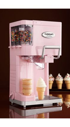 For The Little One: Soft Serve Ice Cream Maker by Cuisinart at Neiman Marcus. I love this ice cream machine!Cutest soft serve ice cream maker by Cuisinart! Has places for easy-dispense sprinkles and a spot to hold your ice cream cones! How delicious! Small Kitchen Appliances, Cool Kitchens, Fun Kitchen Gadgets, Kitchen Gifts, Cream Kitchens, Diner Kitchen, House Appliances, Retro Appliances, Kitchen Small