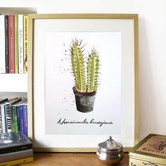 Cactus Hecho a mano.Técnica acuarela. Impresión y por Maraquela