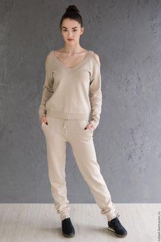 Купить Костюм спортивный из хлопка - однотонный, костюм, спортивный стиль, спортивный костюм, вязаный костюм