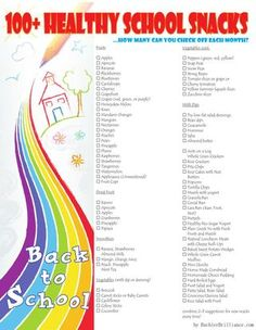 Party,foods,crafts,kids: http://www.pinterest.com/bethanyhansow25/ 100+ Healthy School Snacks