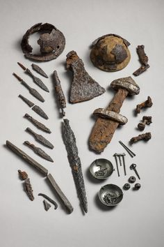 Artifacts from viking's ship burial in Steinkjer, Norway. C. 10th century AD