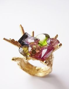 'precious fluke' 18ct gold with tourmaline, peridot, iolite, rubellite, spinell - Kelvin J. Birk 2015