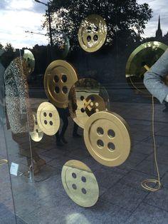 Large buttons. M&S Window Display: Princes Street, Edinburgh - October 2015