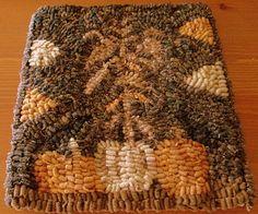 Pumpkins & Cornstalks Hooked Rug by oldecrowprimitivesmo on Etsy