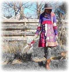 Folk Bird Purple Pink Jumper Sweater Dress by TheTopianDen on Etsy