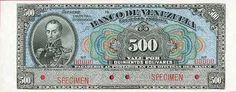 Pieza bbdv500bs-cbs (Anverso). Billete del Banco de Venezuela. 500 Bolívares. Diseño C, Tipo B. Billete tipo specimen sin fecha