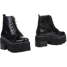 Jeffrey Campbell Ankle Boots ($172) ❤ liked on Polyvore featuring shoes, boots, ankle booties, black, combat boots, lace up ankle boots, short black boots, black bootie and leather booties
