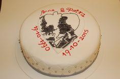 embrodery cake. Jubileum taart, 25 jaar getrouwd.