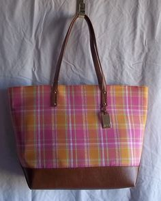 Tommy Hilfiger NWT Pink Orange Plaid Tote Shopper Brown Accents #TommyHilfiger #TotesShoppers