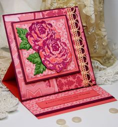 Such an immensely elegant, deeply feminine easel card. Fantastic work! #cards #card_making #homemade #scrapbooking #cute #rose #easel #pink #beautiful