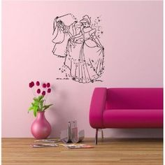 Cinderella Kids Room Wall Decor Vinyl Sticker Mural Kids Cartoon Disney O456