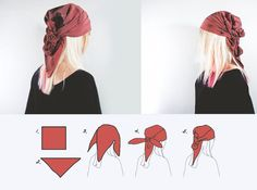 Head scarf style 6 easy ways how to tie a scarf Gypsy style by rannka<br> How to wear head scarf – 6 easy ways: casual one knot style, Gypsy way, African style, girly way, ponytail wrap knot & ponytail two knot loose style. Bandana Hairstyles, Diy Hairstyles, Pirate Hairstyles, Summer Hairstyles, Wedding Hairstyles, Diy Head Scarf, Head Scarfs, Head Scarf Tutorial, Head Scarf Tying