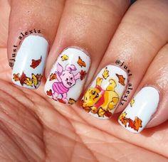 Fall Winnie the pooh & piglet nail art