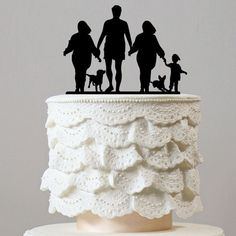 Family Cake Topper (Mom Dad Son Daughter & Dogs) [4 Members w/ 2 Pets]