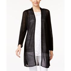 Alfani Petite Illusion Duster Cardigan, ($20) ❤ liked on Polyvore featuring tops, cardigans, deep black, cardigan top, alfani, knit cardigan, layering cardigans and double layer top