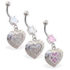 """Navel ring with dangling jeweled heart with """"Love, Peace, Hope"""" Heart Piercing, Navel, Peace And Love, Belly Button Rings, Dangles, Jewelry, Belly Button, Jewlery, Jewerly"""