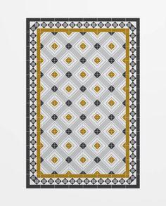 Bcn tiles in a carpet. ❤️❤️❤️ Alfombra de pvc ignífuga amarilla y gris-muntaner Vinyl Floor Mat, Vinyl Flooring, Floor Mats, Flooring Ideas, Mediterranean Tile, Textile Patterns, Textiles, Tile Design, Beautiful Patterns