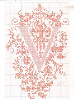 "cross stitch alphabet in 2 colors- very ornate monogram 26 single letters -- ""V"" #22"