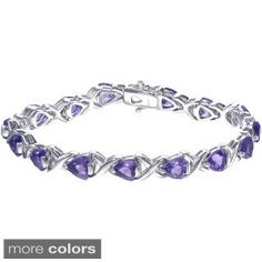 Sterling Silver Trillion-cut Gemstone X-link Bracelet